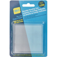 Clear Reusable Mounting tabs - 1in x 1in, 16pk
